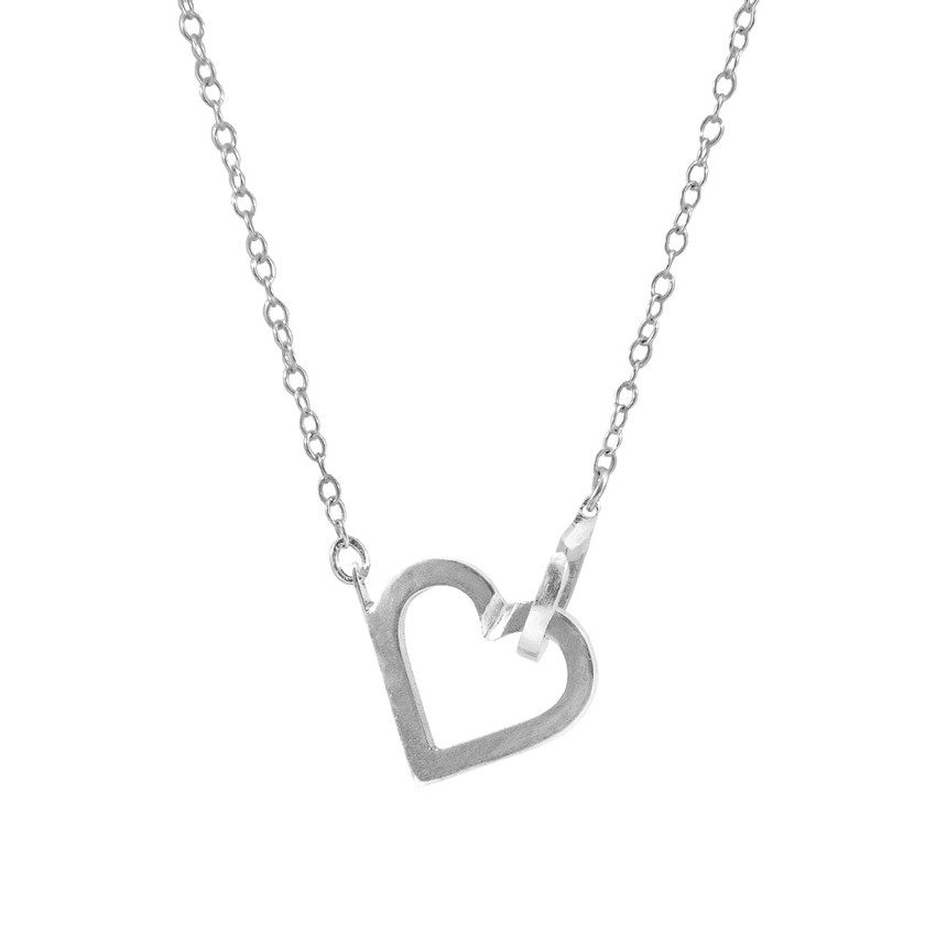 Anchor & Crew Little Heart Link Paradise Silver Necklace Pendant