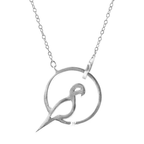 Anchor & Crew Perched Parrot Link Paradise Silver Necklace Pendant
