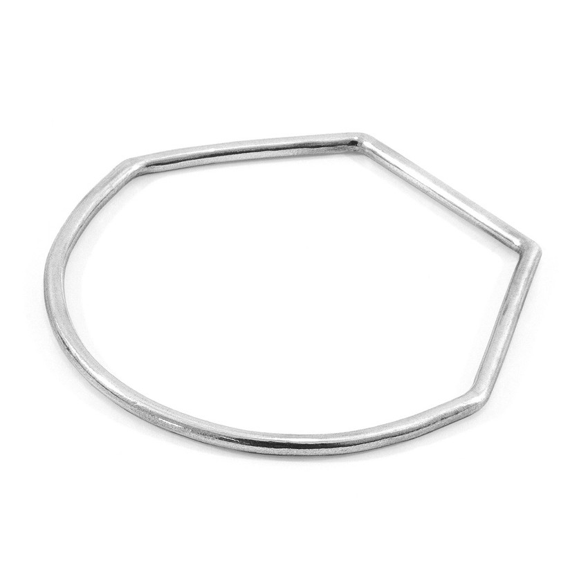 Anchor & Crew Rowe Half Circle Geometric Silver Bangle