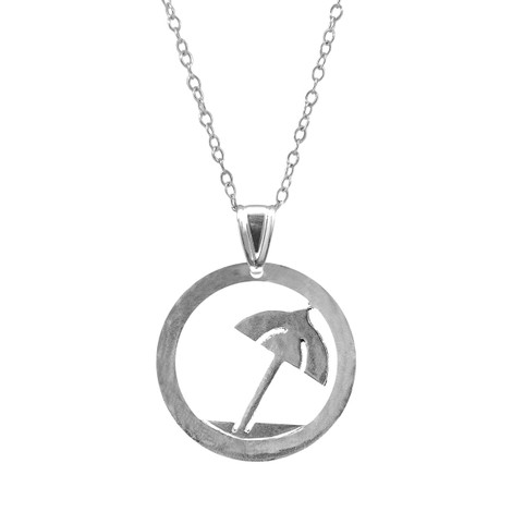 Anchor & Crew Beach Parasol Disc Paradise Silver Necklace Pendant
