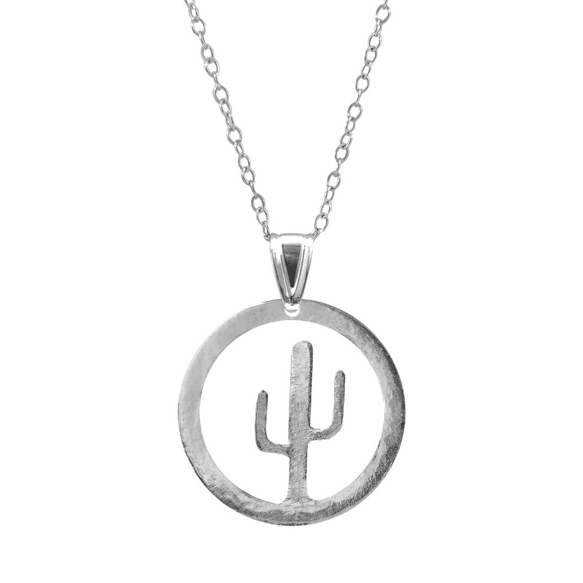 Anchor & Crew Cactus Tree Disc Paradise Silver Necklace Pendant