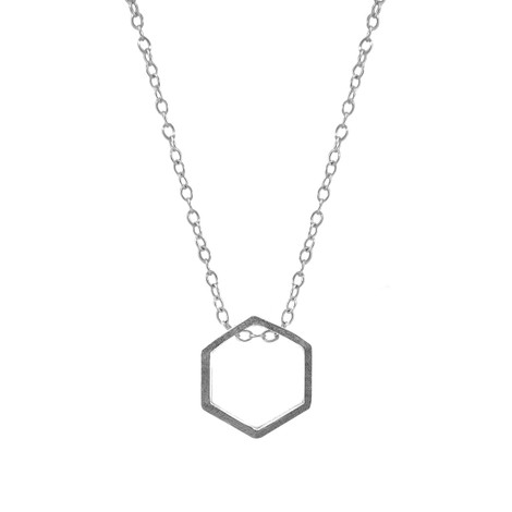 Anchor & Crew Lane Hexagonal Mini Geometric Silver Necklace Pendant