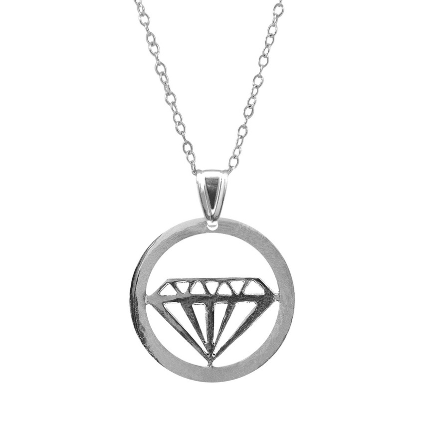 Anchor & Crew Faceted Diamond Disc Paradise Silver Necklace Pendant