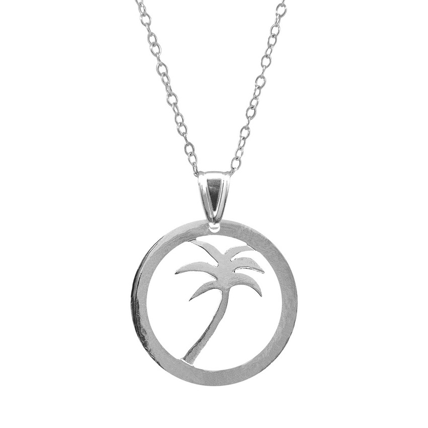 Anchor & Crew Palm Tree Disc Paradise Silver Necklace Pendant