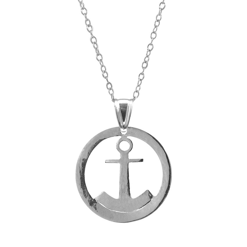 Anchor & Crew Seaside Anchor Disc Paradise Silver Necklace Pendant