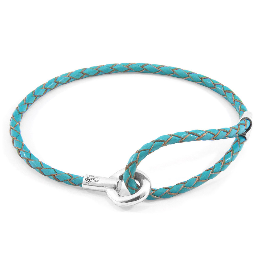 Anchor & Crew Turquoise Blue Blake Silver and Braided Leather Bracelet
