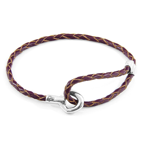 Anchor & Crew Deep Purple Blake Silver and Braided Leather Bracelet