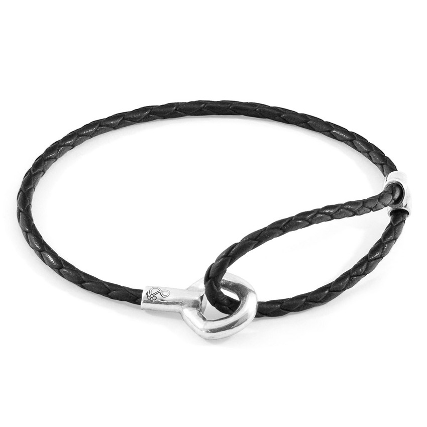 Anchor & Crew Coal Black Blake Silver and Braided Leather Bracelet