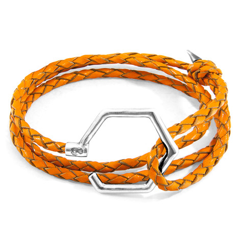 Anchor & Crew Fire Orange Storey Silver and Braided Leather Bracelet