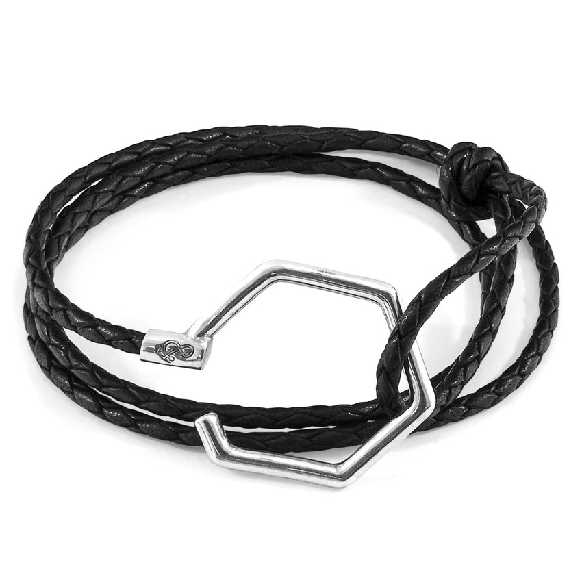 Anchor & Crew Coal Black Storey Silver and Braided Leather Bracelet