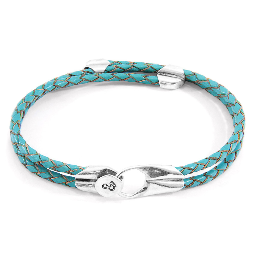 Anchor & Crew Turquoise Blue Conway Silver and Braided Leather Bracelet