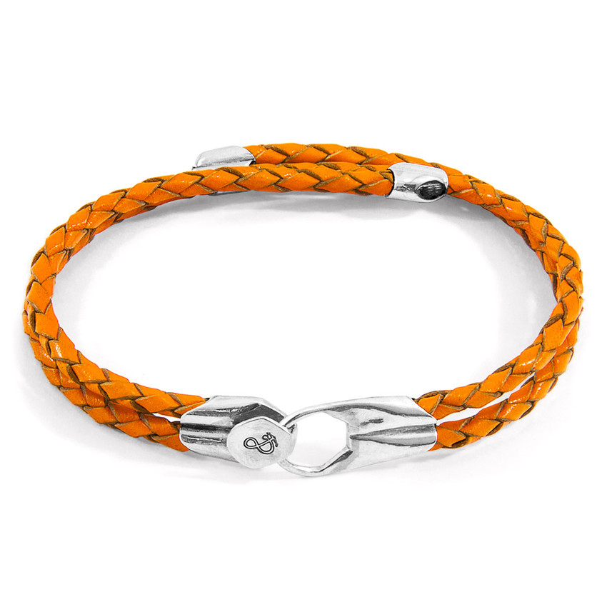 Anchor & Crew Fire Orange Conway Silver and Braided Leather Bracelet