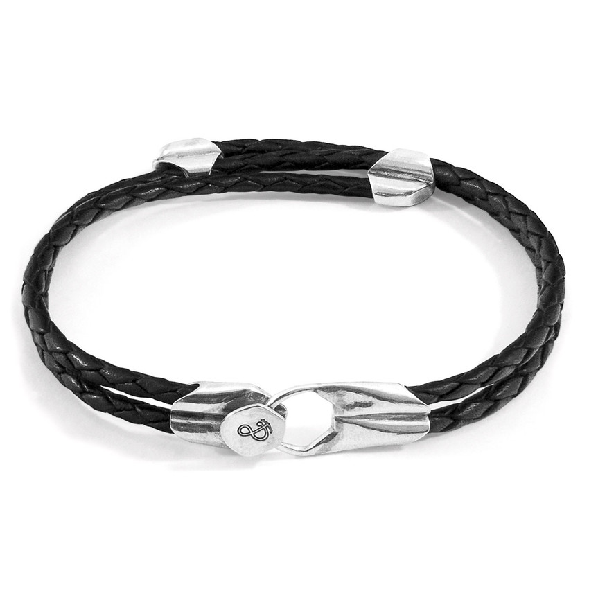 Anchor & Crew Coal Black Conway Silver and Braided Leather Bracelet