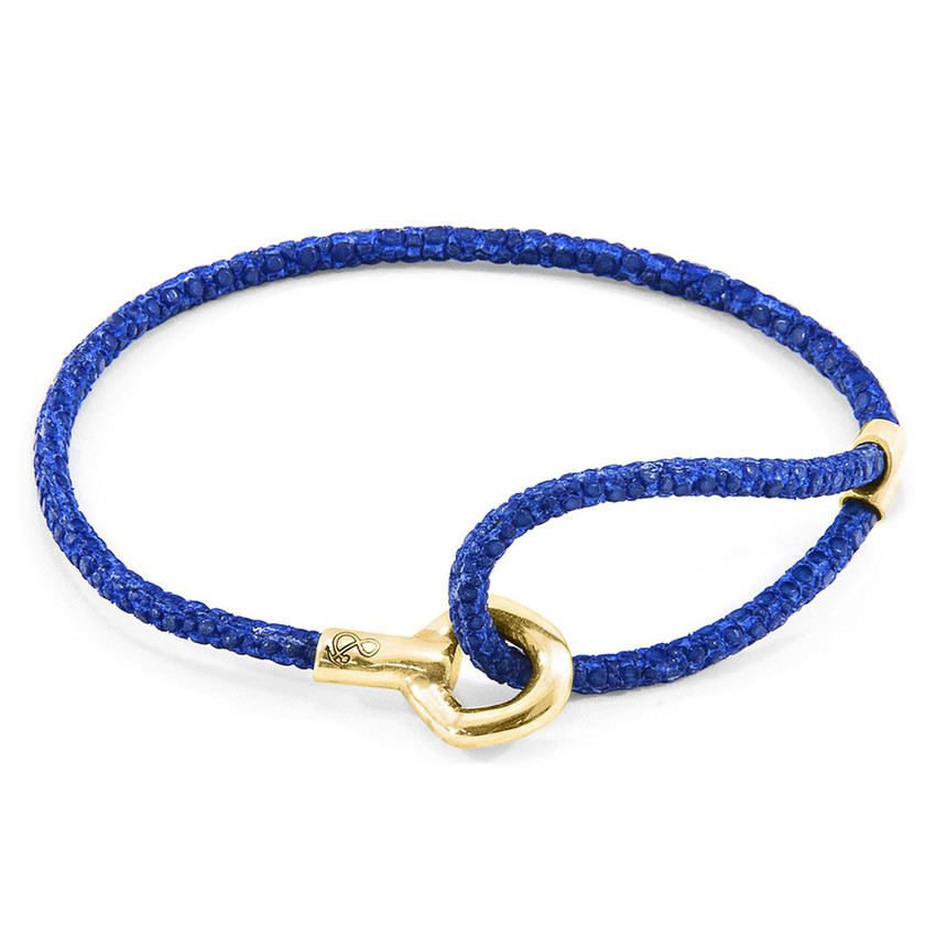 Anchor & Crew Azure Blue Blake 9ct Yellow Gold and Stingray Leather Bracelet