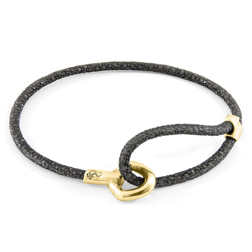 Anchor & Crew Shadow Grey Blake 9ct Yellow Gold and Stingray Leather Bracelet