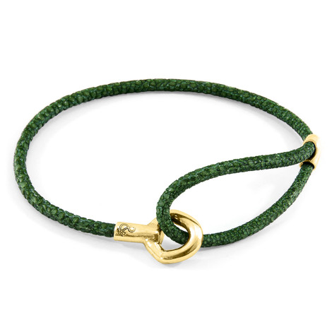 Anchor & Crew Racing Green Blake 9ct Yellow Gold and Stingray Leather Bracelet