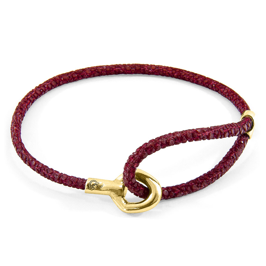 Anchor & Crew Bordeaux Red Blake 9ct Yellow Gold and Stingray Leather Bracelet