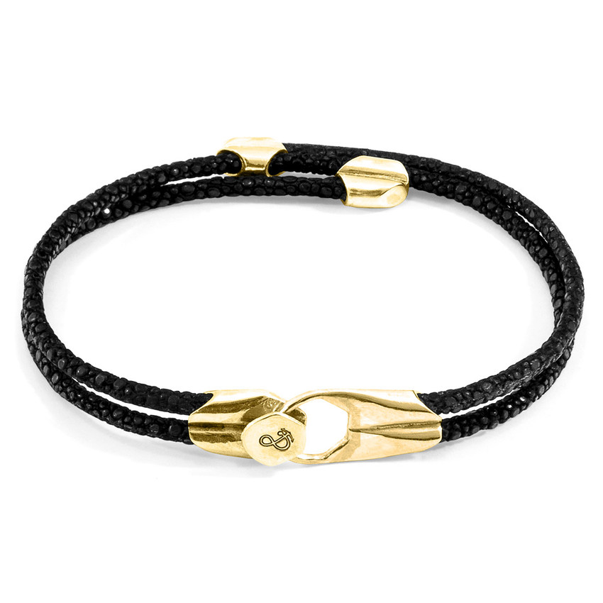 Anchor & Crew Raven Black Conway 9ct Yellow Gold and Stingray Leather Bracelet