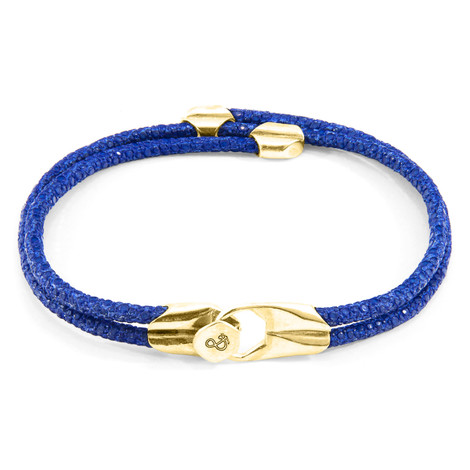 Anchor & Crew Azure Blue Conway 9ct Yellow Gold and Stingray Leather Bracelet