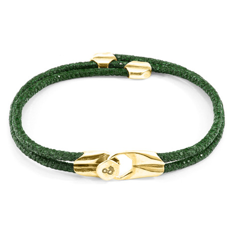 Anchor & Crew Racing Green Conway 9ct Yellow Gold and Stingray Leather Bracelet