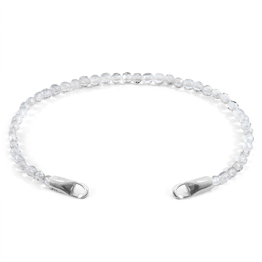 Anchor & Crew Clear Rock Crystal CUSTOM Bracelet Stone and Silver Line