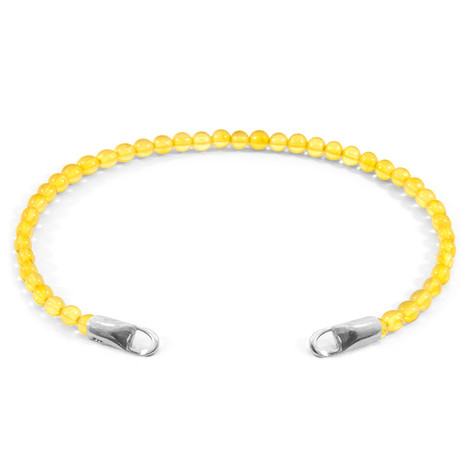 Anchor & Crew Yellow Amber CUSTOM Bracelet Stone and Silver  Line