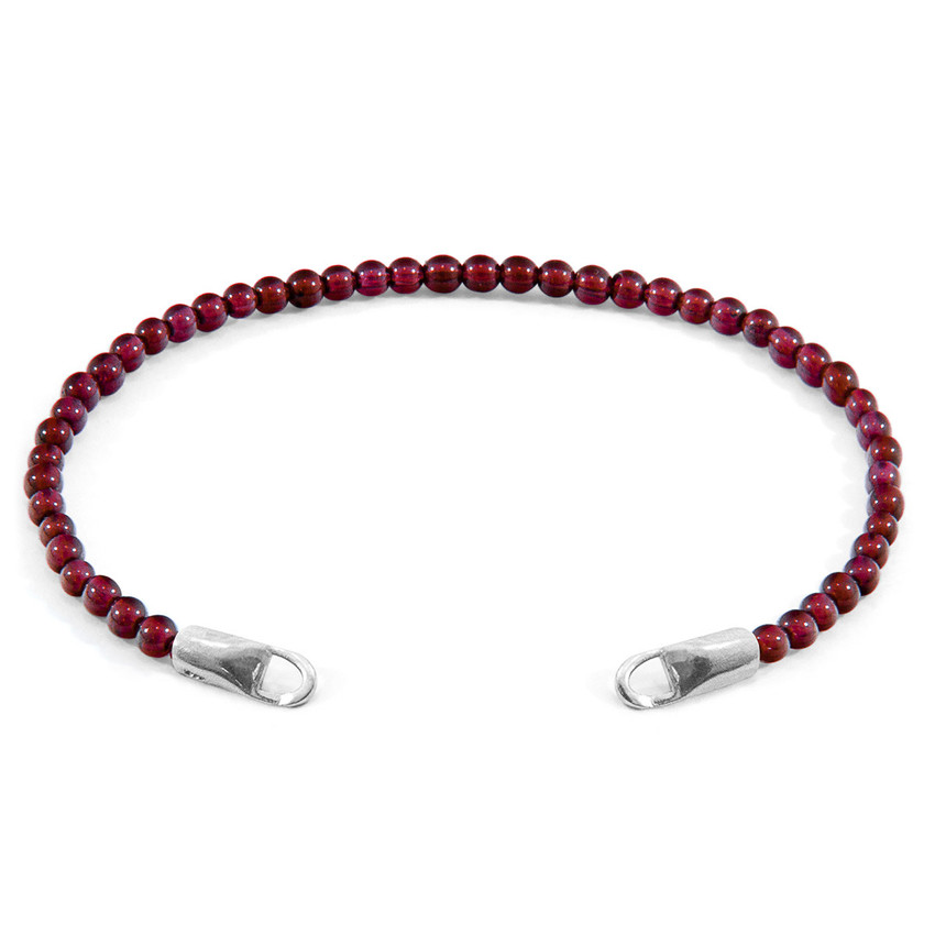 Anchor & Crew Red Garnet CUSTOM Bracelet Stone and Silver Line