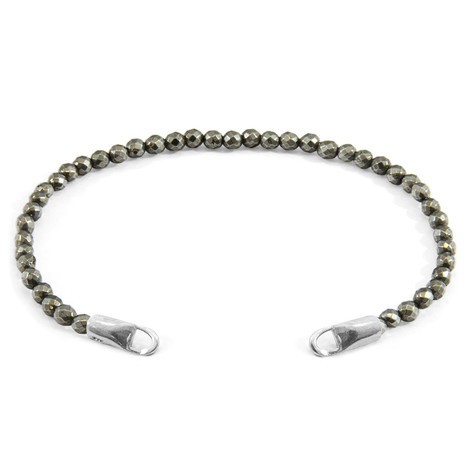 Anchor & Crew Brown Pyrite CUSTOM Bracelet Stone and Silver Line