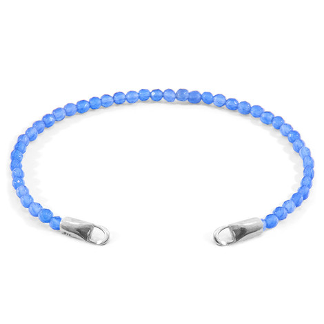 Anchor & Crew Blue Agate CUSTOM Bracelet Stone and Silver Line