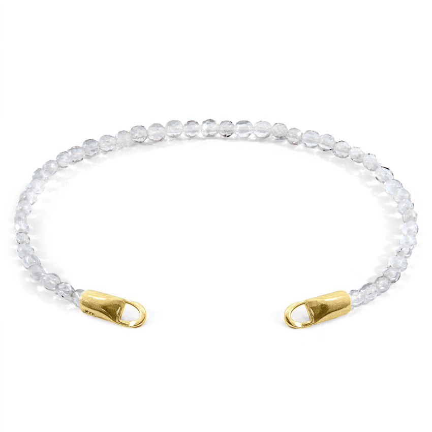 Anchor & Crew Clear Rock Crystal CUSTOM Bracelet Stone and 9ct Yellow Gold Line