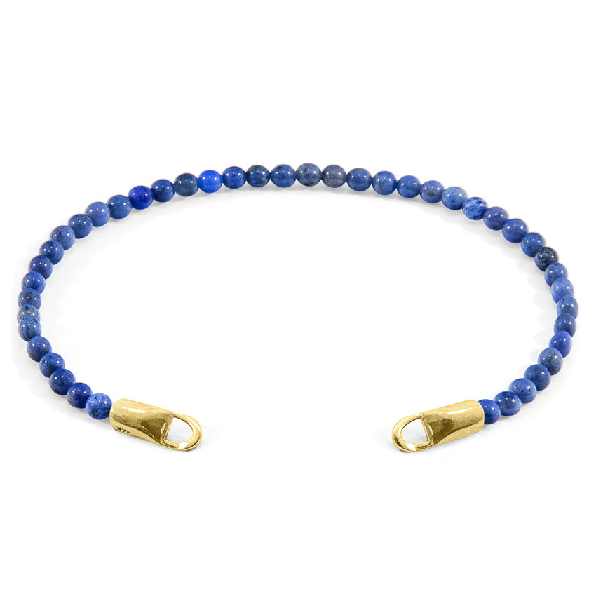 Anchor & Crew Blue Dumortierite CUSTOM Bracelet Stone and 9ct Yellow Gold Line