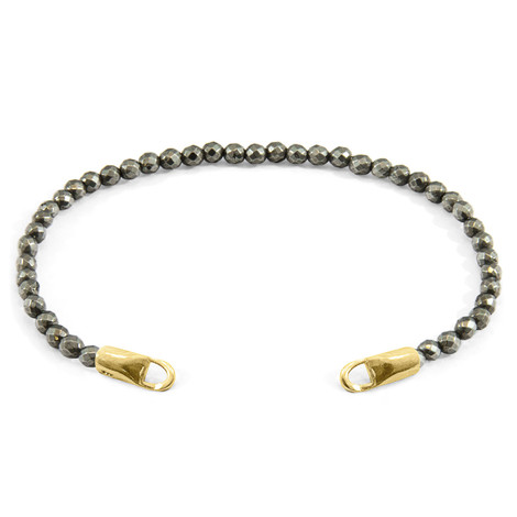 Anchor & Crew Brown Pyrite CUSTOM Bracelet Stone and 9ct Yellow Gold Line