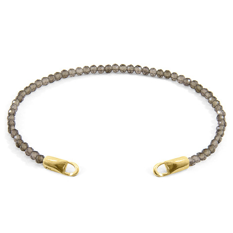 Anchor & Crew Grey Smokey Quartz CUSTOM Bracelet Stone and 9ct Yellow Gold Line