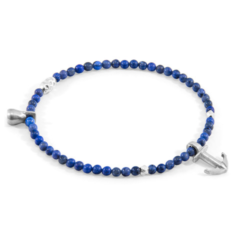 Anchor & Crew Blue Dumortierite Tropic Silver and Stone Bracelet