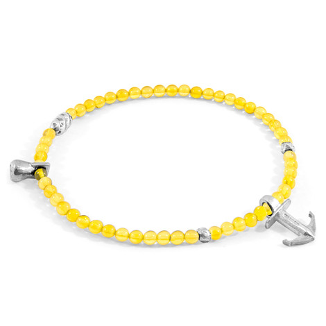Anchor & Crew Yellow Amber Tropic Silver and Stone Bracelet