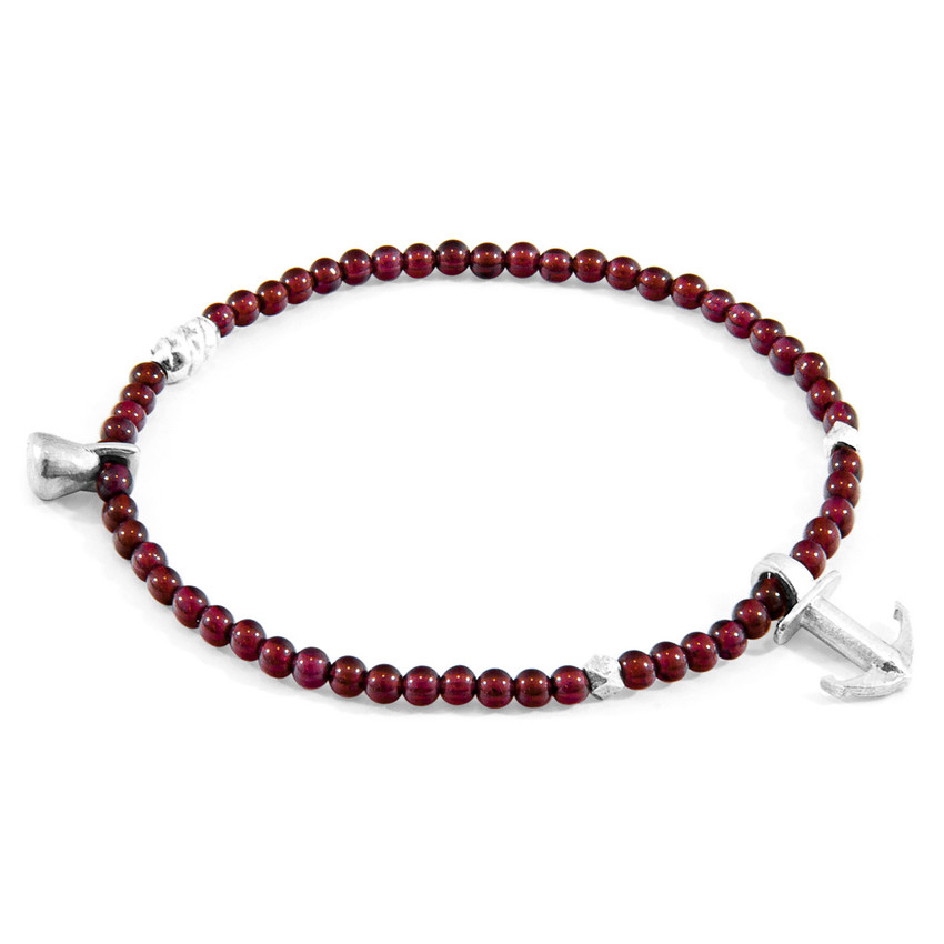 Anchor & Crew Red Garnet Tropic Silver and Stone Bracelet