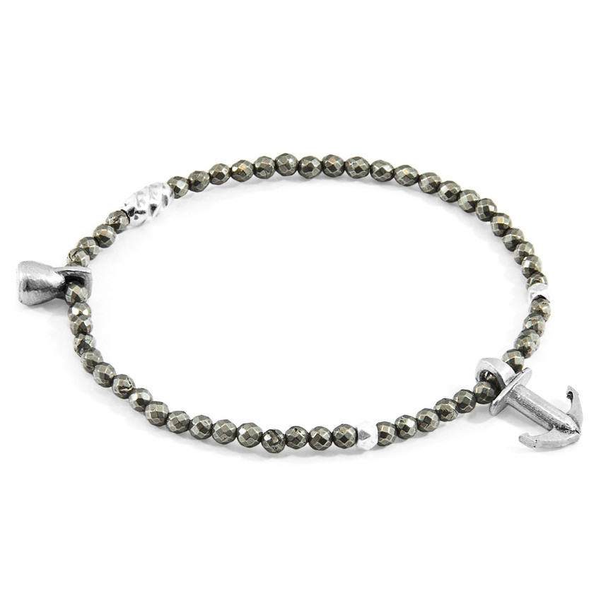 Anchor & Crew Brown Pyrite Tropic Silver and Stone Bracelet