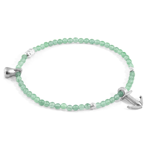 Anchor & Crew Green Aventurine Tropic Silver and Stone Bracelet