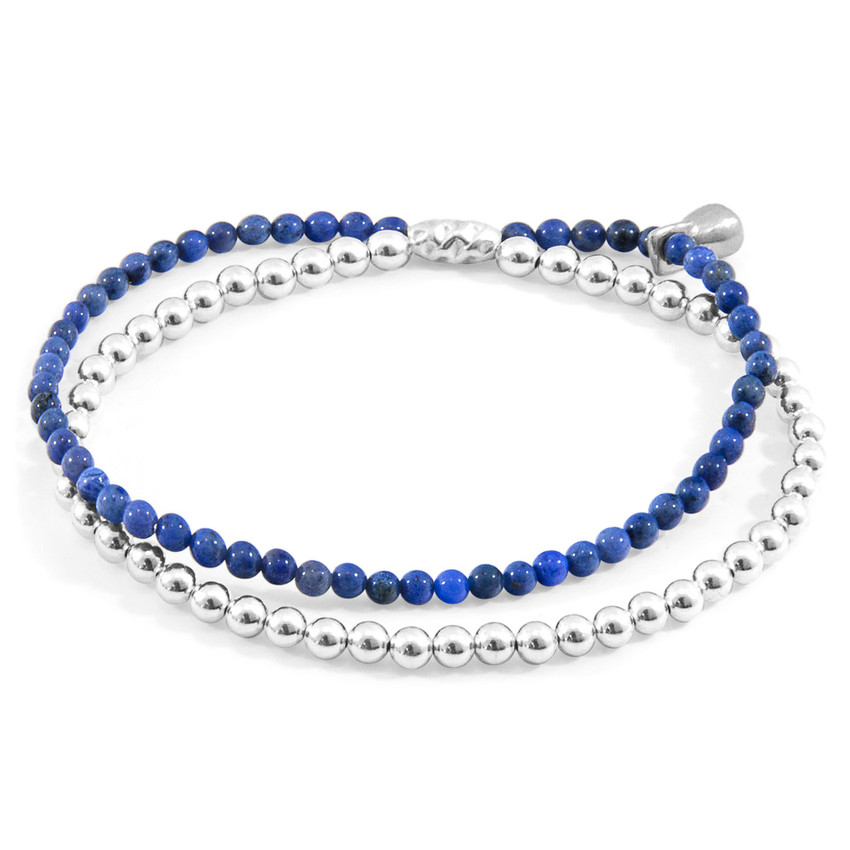 Anchor & Crew Blue Dumortierite Harmony Silver and Stone Bracelet