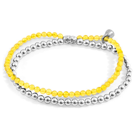 Anchor & Crew Yellow Amber Harmony Silver and Stone Bracelet