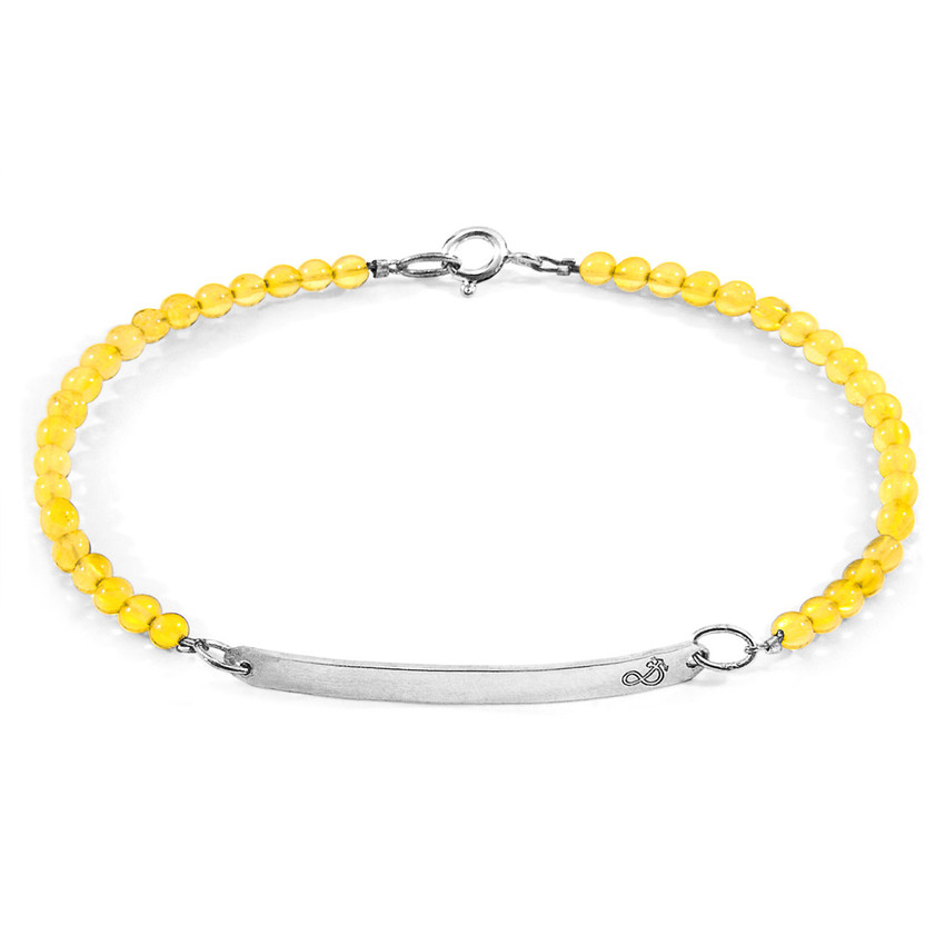 Anchor & Crew Yellow Amber Purity Silver and Stone Bracelet