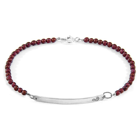 Anchor & Crew Red Garnet Purity Silver and Stone Bracelet