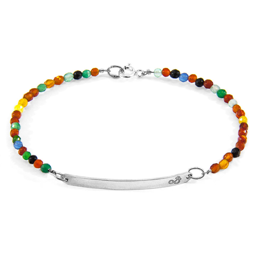 Anchor & Crew Multicoloured Agate Purity Silver and Stone Bracelet
