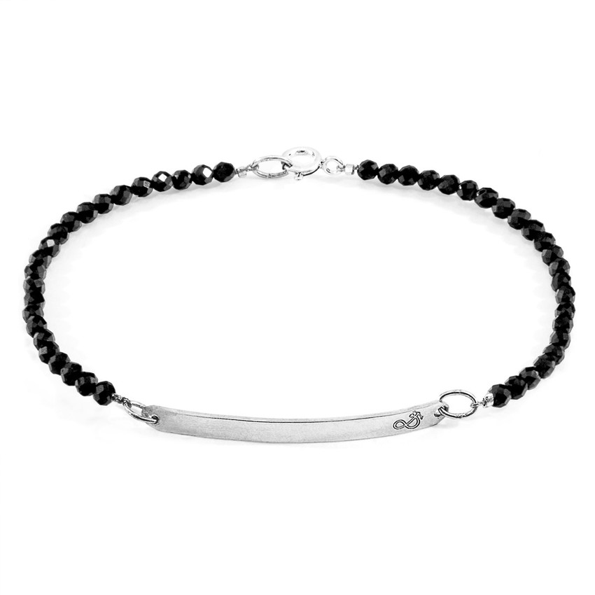Anchor & Crew Black Spinel Purity Silver and Stone Bracelet