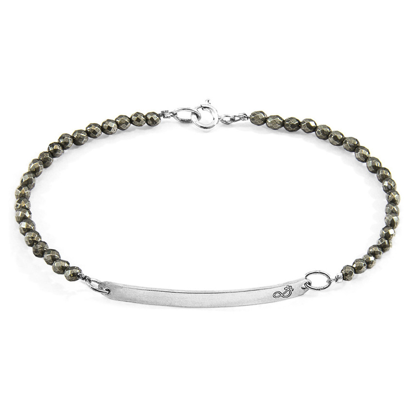 Anchor & Crew Brown Pyrite Purity Silver and Stone Bracelet