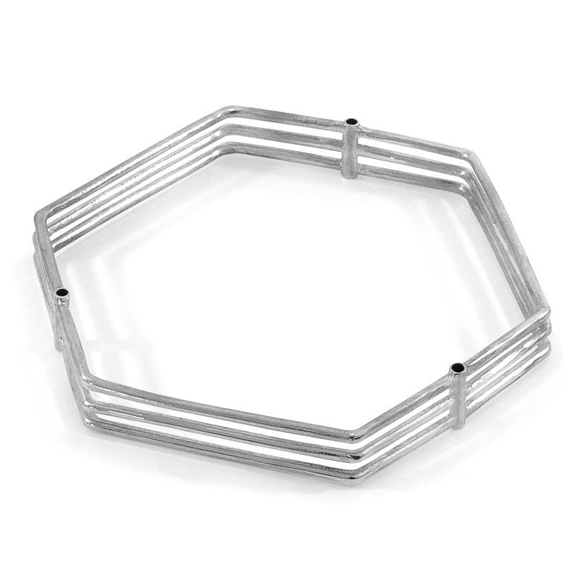 Anchor & Crew Walton Tri-Rail Maxi Geometric Silver Bangle