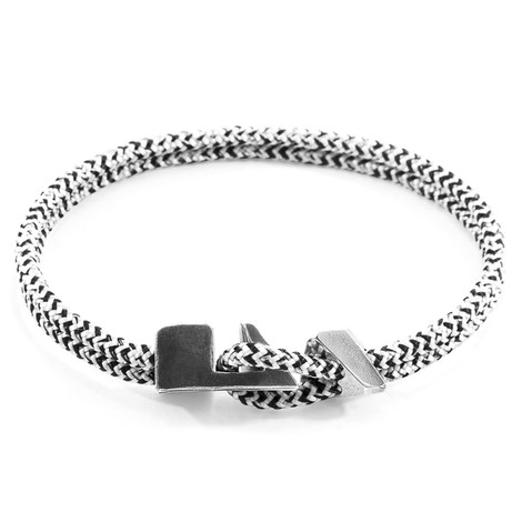 Anchor & Crew White Noir Brixham Silver and Rope Bracelet