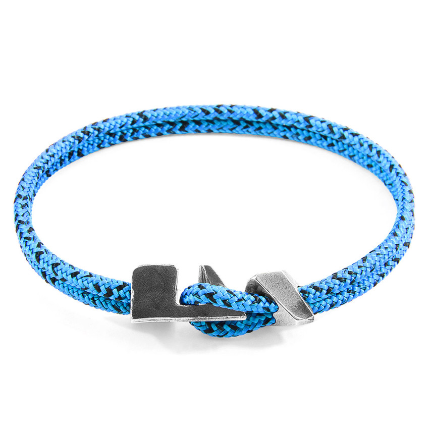 Anchor & Crew Blue Noir Brixham Silver and Rope Bracelet