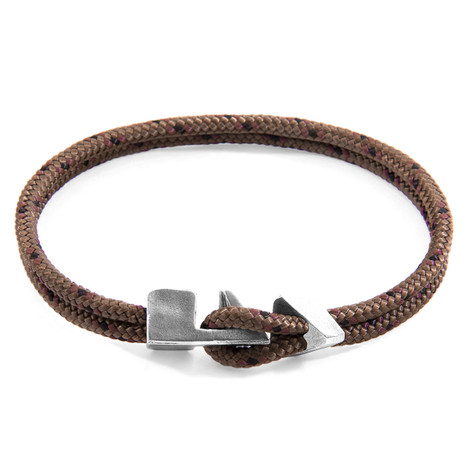 Anchor & Crew Brown Brixham Silver and Rope Bracelet