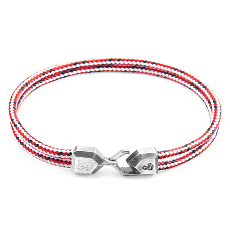 Anchor & Crew Red Dash Cromer Silver and Rope Bracelet